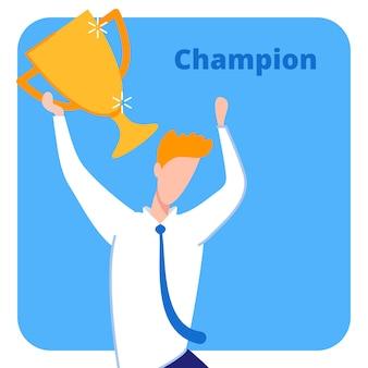 Mistrz z nagrodą, holding trophy lub cup flat.