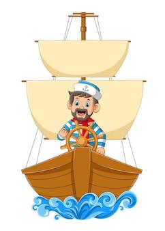 Mistrz żeglarzy prowadzący duży statek na ilustracji oceanu