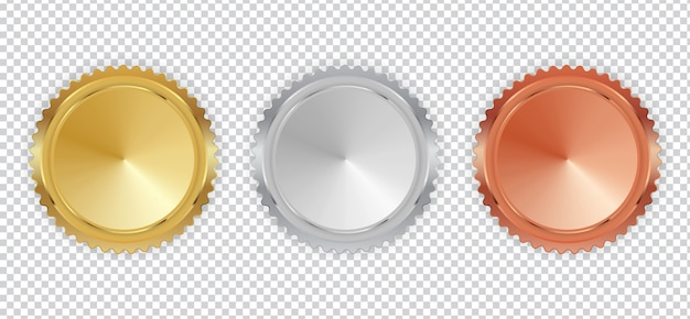 Mistrz złoty, srebrny i brązowy medal ikona znak pierwszy, drugi i trzeci zestaw kolekcja zestaw na białym tle.
