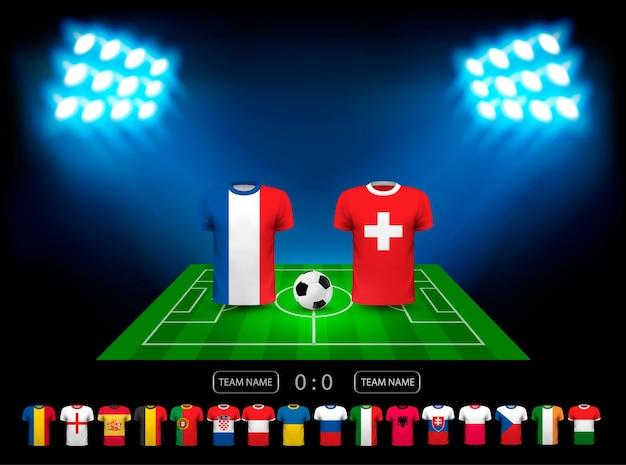 Mistrzostwa europy w piłce nożnej 2016 we francji. wektor.