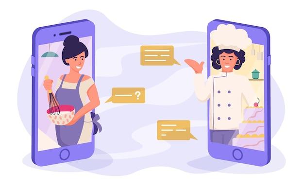Mistrzowska klasa kulinarna online młoda kobieta gotuje i prosi kucharza przez telefon na czacie warsztatów kulinarnych online podczas przesyłania strumieniowego za pomocą ilustracji wektorowych telefonu