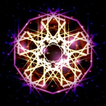 Mistyczna błyszcząca gwiazda z iskierkami