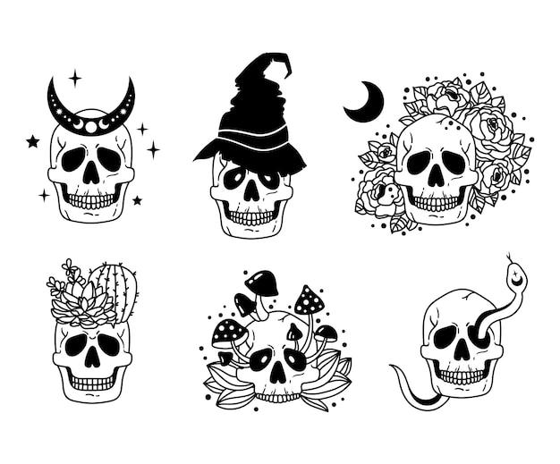 Mistyczna czaszka na białym tle clipart niebiański i kwiatowy boho czaszka horror halloween wektor