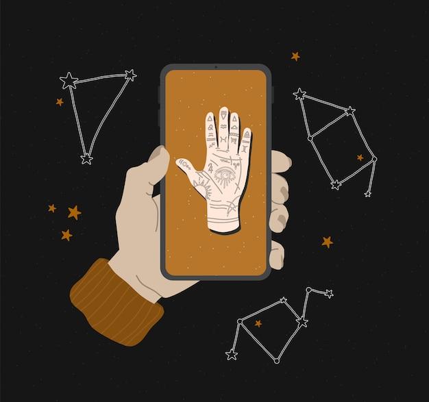 Mistyczna ilustracja ręki mudry ze znakami zodiaku. koncepcja astrologiczna i ezoteryczna. heromancja z wszechwidzącym okiem. grafika do projektowania stron internetowych, aplikacji i druku na tkaninie