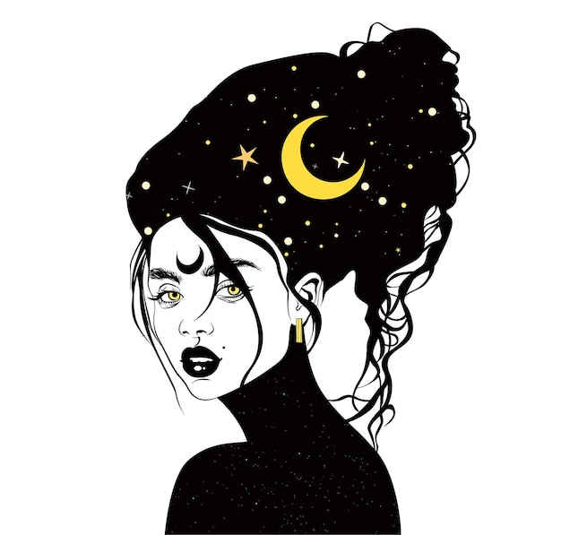 Mistyczna kobieta niebiański księżyc i gwiazdy wiedźma