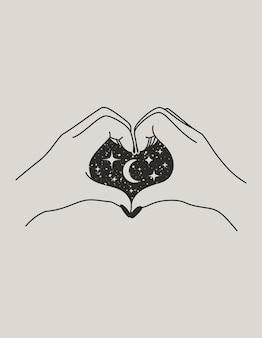 Mistyczna ręka kobiece serce z księżycem i gwiazdami w modnym stylu boho. wektorowa ikona dłoni do nadruku na ścianie, t-shirt, projekt tatuażu, do postów i historii w mediach społecznościowych