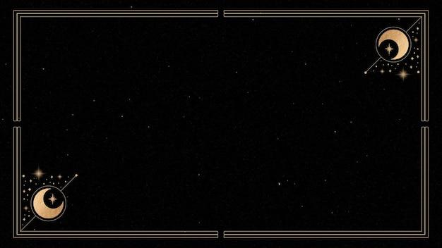 Mistyczna złota ramka na czarnym tle wektora