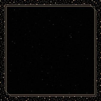 Mistyczna złota ramka na czarnym tle wektoru