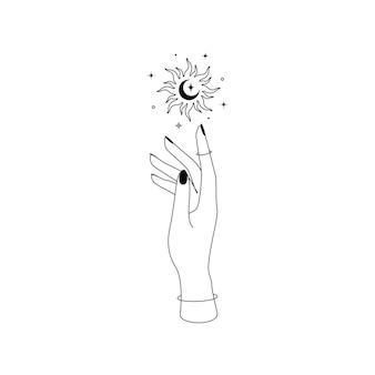 Mistyczne niebiańskie słońce z gwiazdozbiorami półksiężyca nad sylwetką zarys dłoni kobiety. ilustracja wektorowa symbolu boho czarownica i magia.