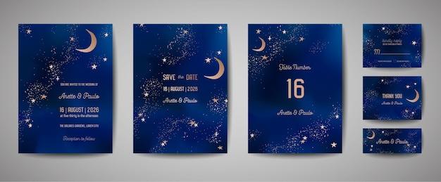 Mistyczne nocne niebo tło z pół księżyca i gwiazd. ślubne zaproszenie na noc księżycową i zapisz kartę daty w wektorze