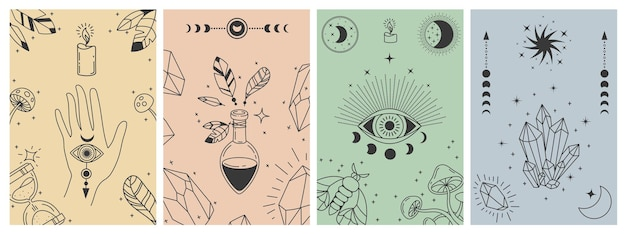 Mistyczne plakaty boho. ezoteryczne nadruki linii z symbolami astrologicznymi, kryształami, miksturą, złym okiem i okultystyczną ręką. koncepcje wektor karty tarota. ilustracja ezoteryczny druk astrologiczny, symbol okultystyczny