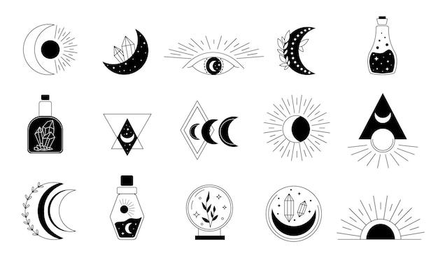 Mistyczne symbole. linia ezoteryczna, boho mistyczne ręcznie rysowane elementy, magiczny kryształ czarów, oczy, księżyc, słońce, kot. zestaw ikon ilustracji wektorowych.