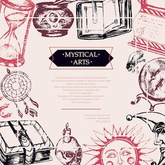 Mistyczne sztuki - kolor wektor ciągnione pocztówka vintage, miejsce. zwój, grimuar, pióro, kałamarz, kryształowa kula, świeca, czaszka, łapacz snów, świecznik, worek run, książka, słońce, księżyc, klepsydra