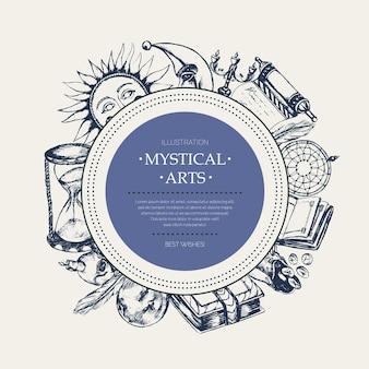 Mistyczne sztuki - nowoczesny wektor ciągnione okrągły transparent, miejsce. realistyczny zwój, grimuar, pióro, kałamarz, kryształowa kula, świeca, czaszka, łapacz snów, świecznik, woreczek na runy, książka, słońce, księżyc, klepsydra