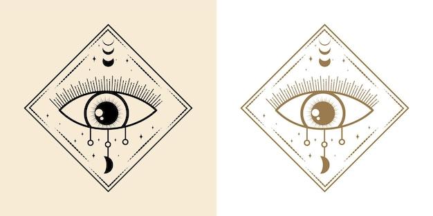 Mistyczne wszystko widzące oko ręcznie rysowane magiczne czary talizman magiczne ezoteryczne oczy święta geometria