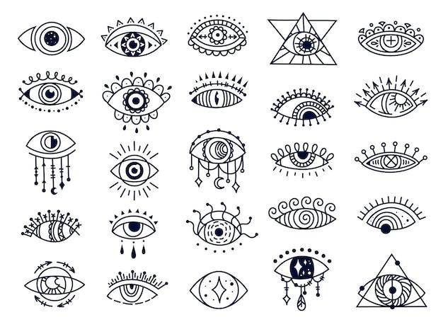 Mistyczne złe oczy gryzmoły duchowy turecki symbol ręcznie rysowane ezoteryczny zestaw wektorów z pamiątkami powodzenia