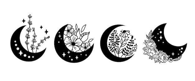 Mistyczny boho kwiatowy księżyc na białym tle zestaw clipartów niebiańska kolekcja księżyc i zestaw kwiatów