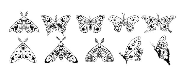 Mistyczny boho niebiański motyl i ćma izolowane cliparty pakiet mistyczny księżyc gwiazdy ezoteryczne