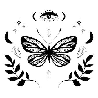 Mistyczny emblemat ezoteryczny znak tatuażu z motylkowym okiem i księżycem