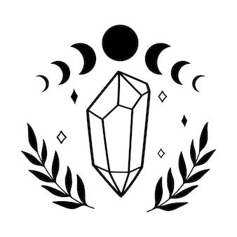 Mistyczny kryształowy księżyc gwiazdy i liście magiczne kryształy mistyczna magiczna ilustracja