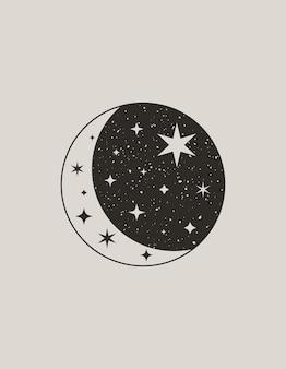 Mistyczny księżyc w modnym stylu boho. wektor ikona półksiężyca z gwiazdami