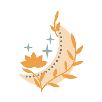 Mistyczny księżyc z kryształem, gwiazdami, kwiatami, liśćmi na białym tle. ilustracja wektorowa mistyczne i magiczne, astrologia. projekt koszulek, toreb, kartek, plakatów, zaproszeń