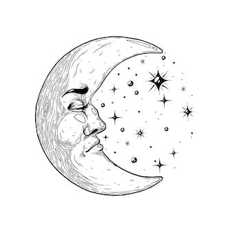Mistyczny księżyc z twarzy ręcznie robiona ilustracja wektorowa wykonana za pomocą pióra i atramentu