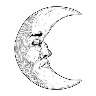 Mistyczny księżyc z twarzy ręcznie robiona ilustracja wektorowa