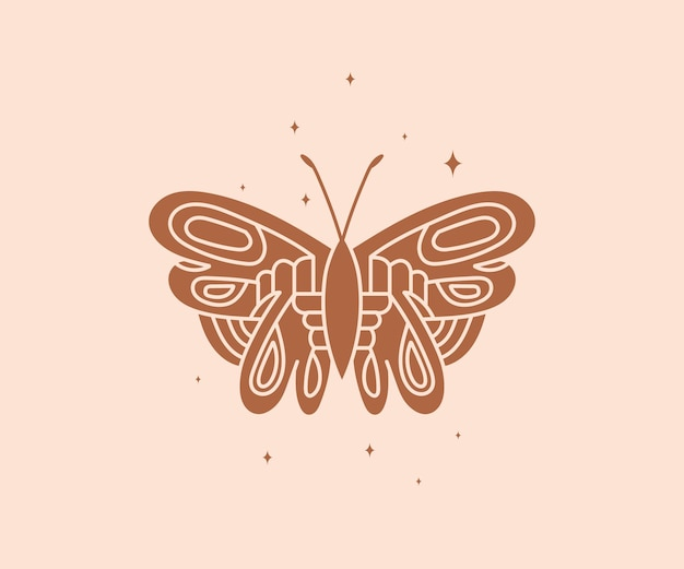 Mistyczny niebiański nocny motyl duchowa elegancka ćma do brandowania logo ezoterycznego magicznego