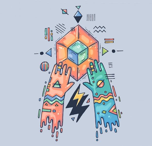 Mistyczny obrzęd, geometryczna magia. ręce nad magicznym kryształem. ilustracja kreskówka postać w nowoczesnym stylu graficznym.