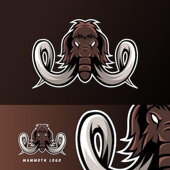 Mit mamuta słoń maskotka sport logo szablon e-sport