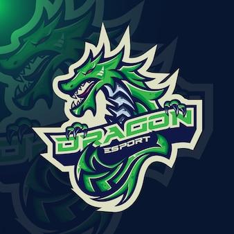 Mitologiczne zwierzęta dragon sport esport gaming maskotka logo szablon dla zespołu streamerów