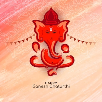 Mitologiczny szczęśliwy ganeśćaturthi festiwal pozdrowienie tło wektor