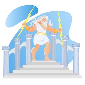 Mitologii greckiej bóg zeus thunderer rzut błyskawicą