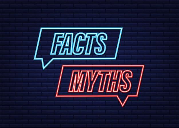 Mity, fakty. fakty, świetny projekt do dowolnych celów. neonowa ikona. czas ilustracja wektorowa.