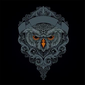 Mityczna sowa z ornamentem