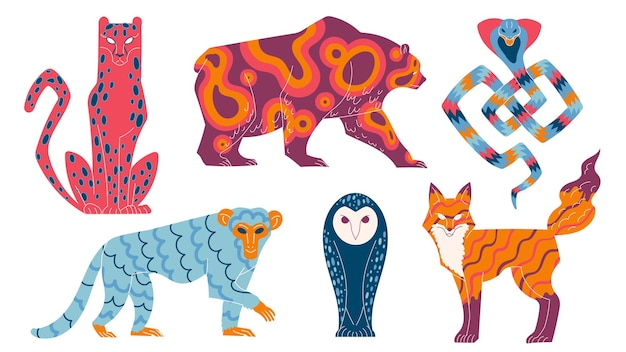 Mityczne zwierzęta, mistyczne postacie dzikie zwierzęta z bajek.