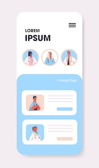 Mix lekarzy wyścigowych konsultujących pacjenta w aplikacji mobilnej do czatowania konsultacje online opieka zdrowotna medycyna porady medyczne