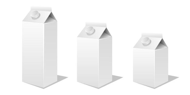 Mleka i soku kartonu makieta projektu wektorowa ilustracja na białym tle