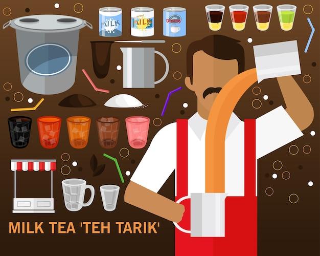 Mleko herbaty teh tarik koncepcja tło. płaskie ikony