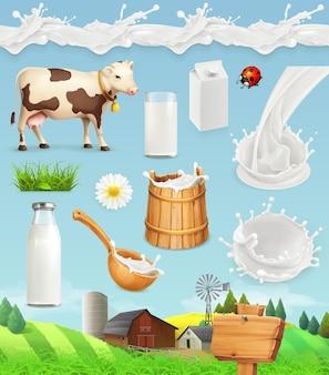 Mleko i farma. butelka, szklanka, łyżka, wiaderko. krople wzór. naturalne produkty mleczne. zestaw ikon
