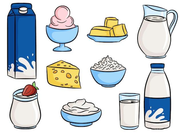 Mleko i produkty mleczne żywność. mleko w butelce, dzbanku, szkle. styl kreskówki. lody, masło, ser, twarożek, jogurt, śmietana. ilustracja wektorowa.