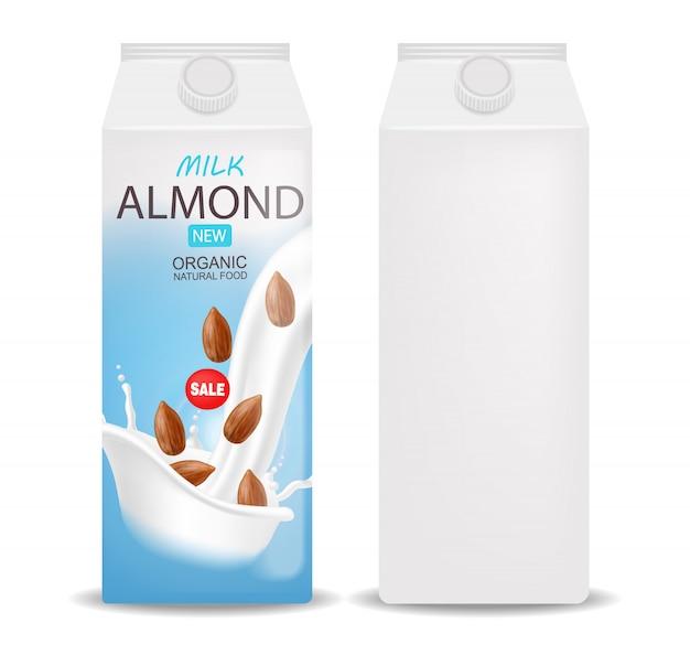 Mleko migdałowe realistyczne, mleko ekologiczne, nowy produkt, świeże mleko, opakowanie kartonowe