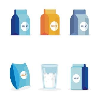 Mleko na wielu opakowanych zestaw ikon