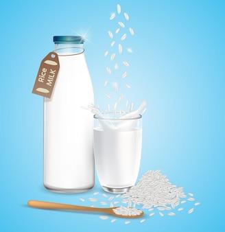 Mleko ryżowe w butelkach i szklankach. naturalne zdrowe produkty wegańskie. ilustracja 3d