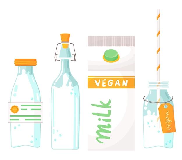 Mleko wegańskie na bazie roślin. zdrowa alternatywa dla laktozy dla krów, produkt przyjazny dla środowiska bez laktozy. baner zastępujący mleko z zestawem orzechowego mleka w szklanych butelkach oraz w papierowym pudełku