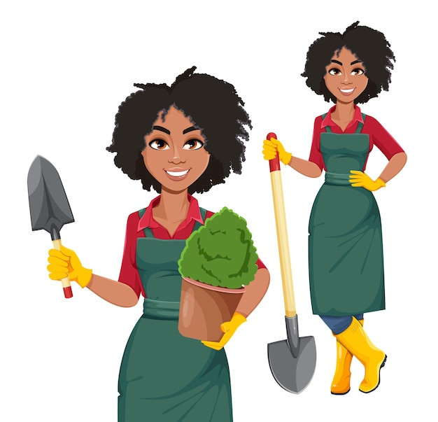 Młoda african american kobieta ogrodnik, zestaw dwóch pozach