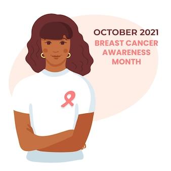 Młoda african american kobieta w białej koszulce z różową wstążką na piersi, ręce skrzyżowane. ilustracja wektorowa miesiąca świadomości raka piersi.