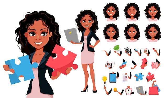 Młoda afroamerykanów kobieta biznesu