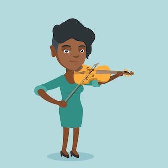 Młoda afroamerykańska kobieta bawić się skrzypce.
